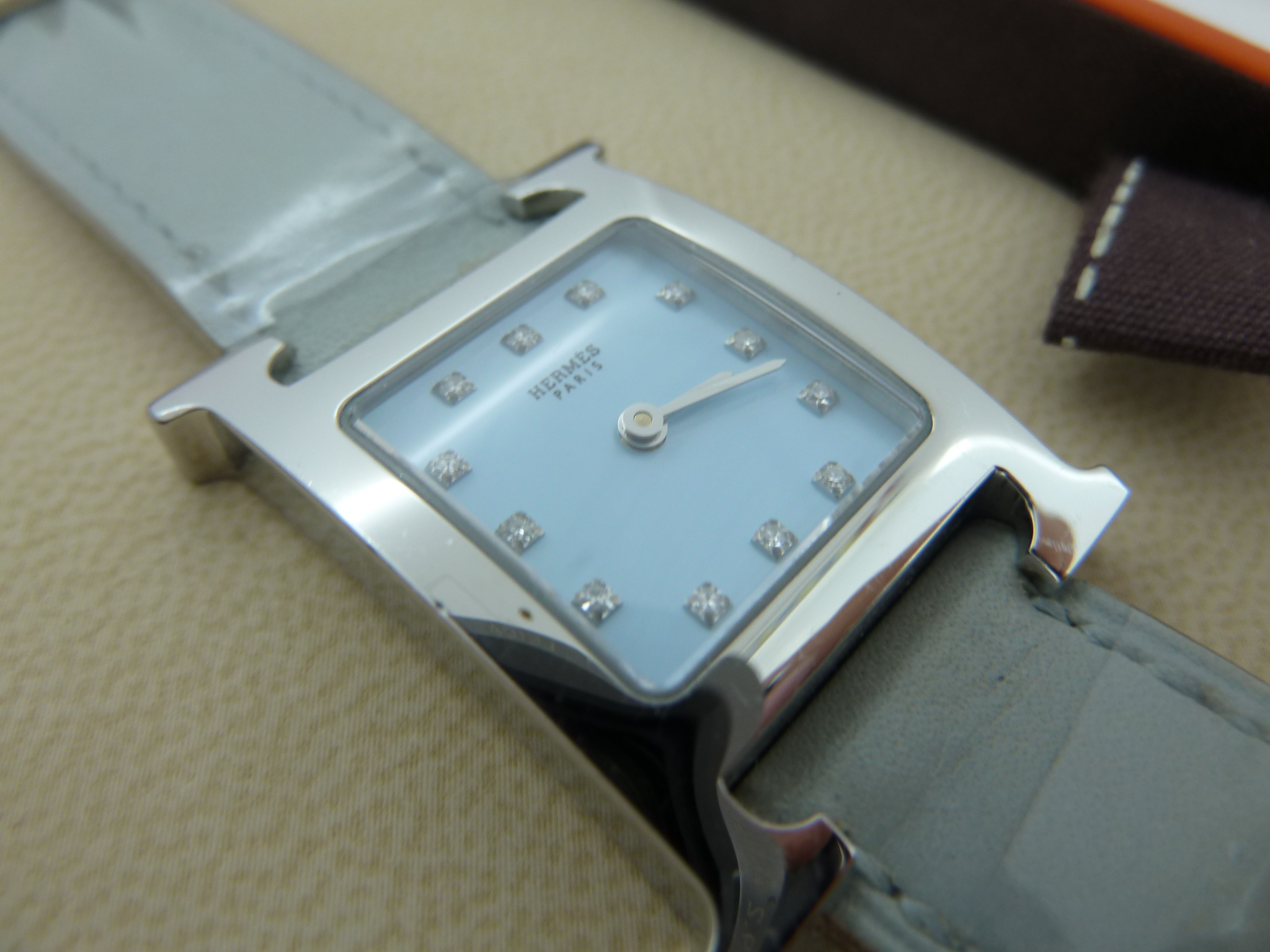 Hermes lady's S/Steel H Hour diamond watch