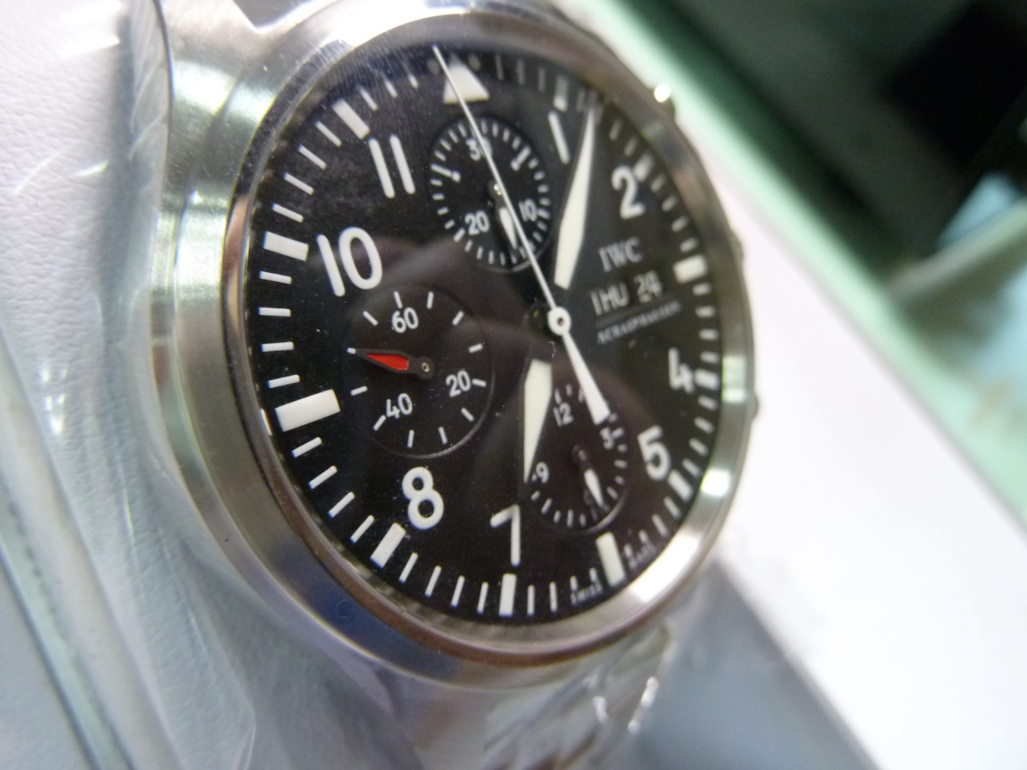IWC Unused Gent's S/Steel spitfire pilot day-date chronograph watch